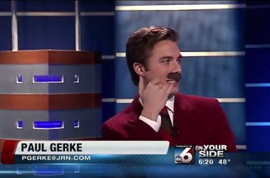 Ron Burgundy impression by Paul Gerke in Boise Idaho