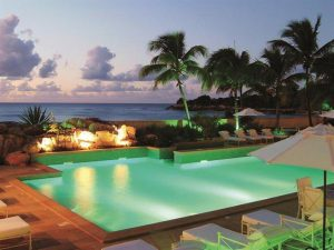 A view of the Trump Chateau des Palmiers resort in the Caribbean. Is this where Columbus first set foot in the new world? Historians think maybe it was. Fantastic pool.